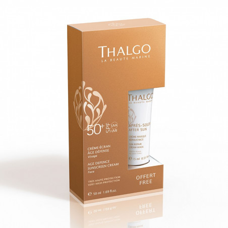 Solar. Crema Solar facial Age Defense SPF 50+ y Regalo Crema Máscara Reparadora - THALGO