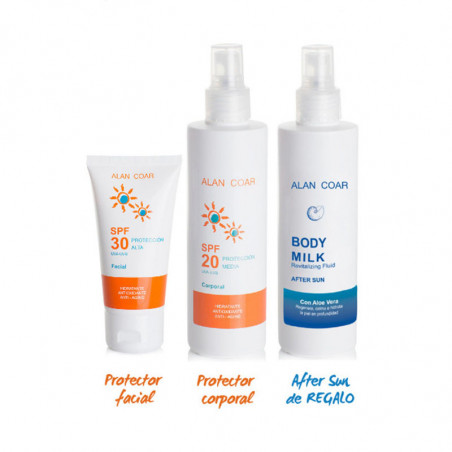 Pack Solar. Facial SPF30 + Corporal SPF20 + After Sun ¡De Regalo! - ALAN COAR