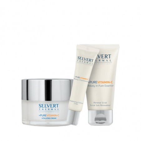 Pack + Pure Vitamin C. Vitalizing Cream + Eye Contour + Renewal Scrub - SELVERT